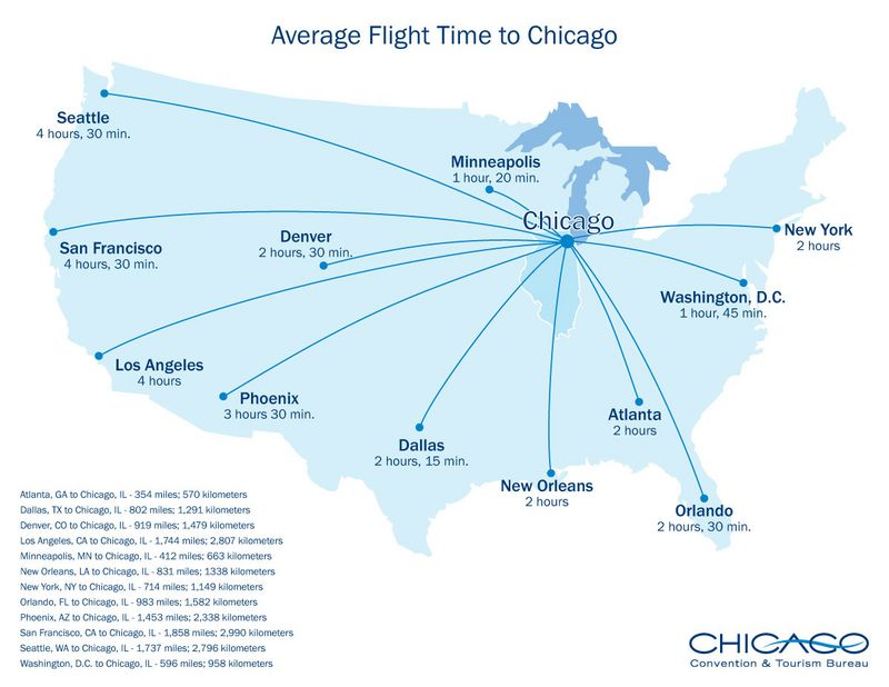 Travel Planning Canemania - Chicago in the us map